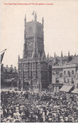 The opening ceremonyof the Bingham Library held in Cirencester Marketplace 21 Sept 1905. W. Dennis Moss postcard